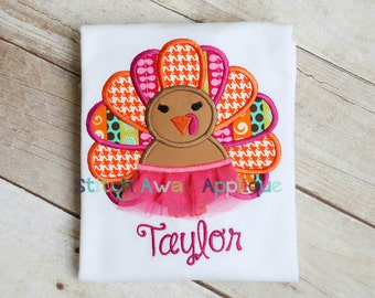 Fall Thanksgiving Tutu Turkey Girl Machine Embroidery Applique Design