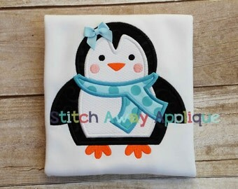 Winter Penguin Machine Embroidery Applique Design
