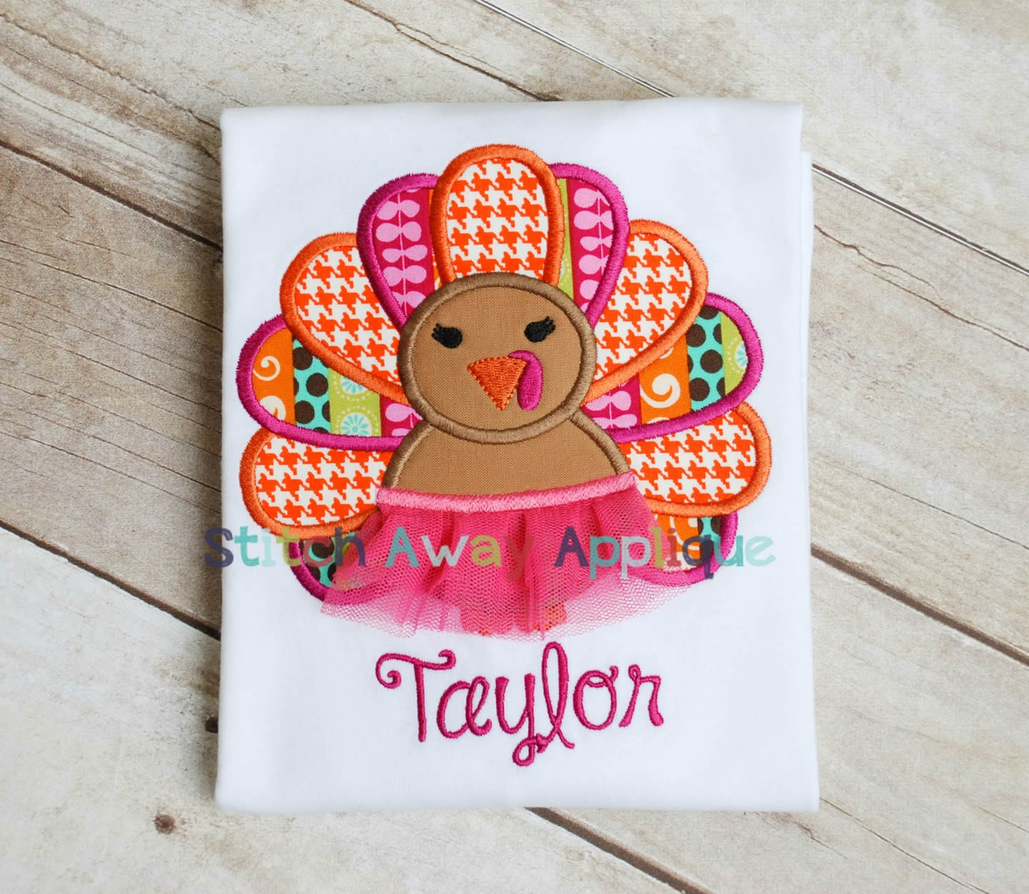 Fall thanksgiving tutu turkey girl machine embroidery