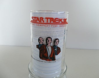 Vintage Star Trek III Collectors Glass 'The Search For Spock' 1984