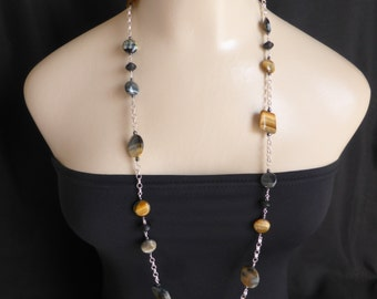 Beautiful Golden Tiger Eye Long Necklace