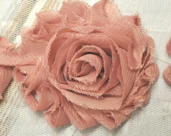 "2.5"" Dusty Pink shabby flower trim - frayed chiffon - rose flowers by the yard - JT Dusty Pink"