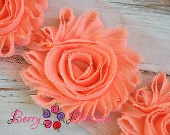 """2.5"""" Peach shabby flower trim - frayed chiffon - rose flowers by the yard - CF Peach"""