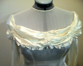 Vintage 1940 Wedding Gown in Ivory Lace trim and Pearl beads