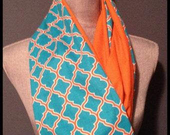 Blue and Orange Geometric Pattern Infinity Scarf