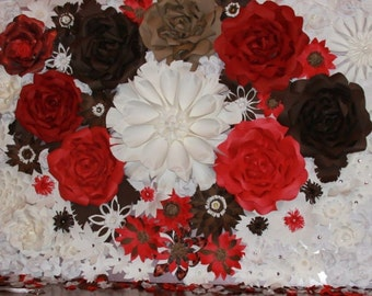 4X6 - Giant Paper Flower Backdrop - Brown, Red, and White Combination