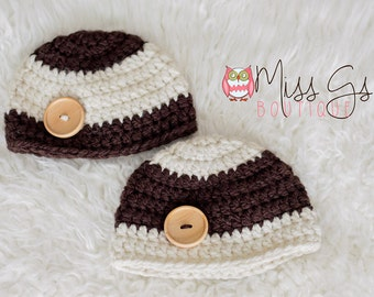 Newborn Twin Beanie Set