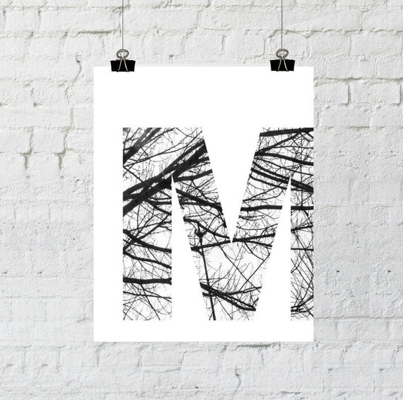 Letter M Wall Art, Monogram, Wall Art Prints, Scandinavian Art, Nordic Design,Tree Branch Art, Home Decor, Instant Download, Printable