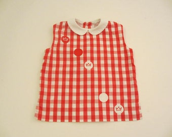 vintage cotton red and white gingham sleeveless blouse size 4