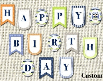 DIY Birthday Banner - Mr. Owl in 3 Shapes - Oval Banner, Pennant Banner, Scallop Banner - Printable pdf