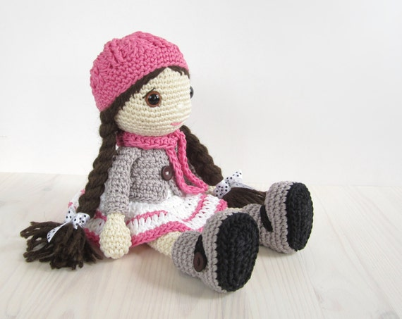 Amigurumi Doll Skirt : PATTERN: Doll Girl in a dress jacket boots and hat