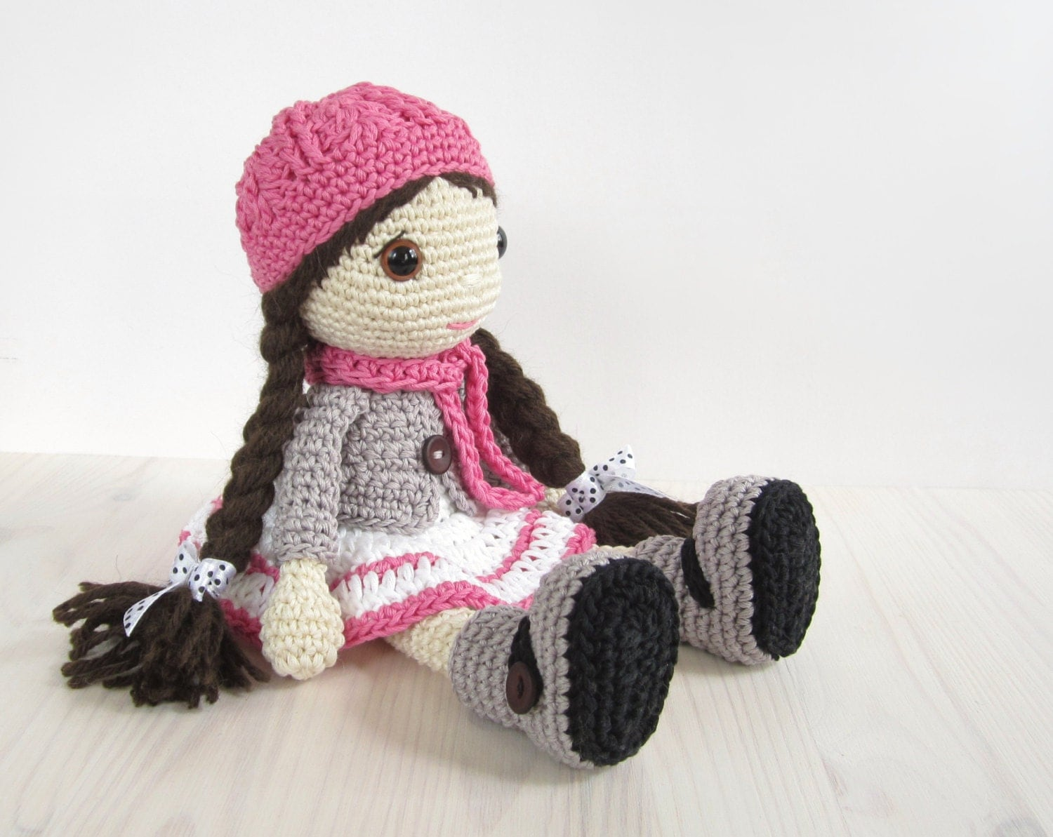Crochet Amigurumi Doll Clothes : PATTERN: Doll Girl in a dress jacket boots and hat