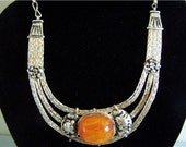 Free S&H - Unique Elegant Vintage Tibetan Silver Big Beeswax Amber Amulet Necklace - very feminine, looks very sexy!