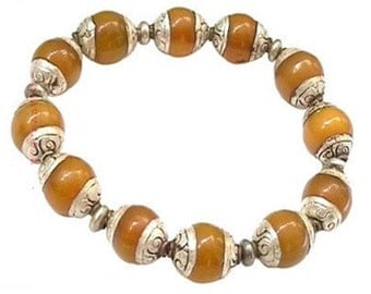 Elegant Stretchy Tibetan 12 12*10mm 925 Sterling Silver Repousse Beeswax Amber Beads Beaded Bracelet