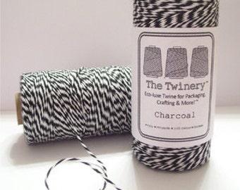Charcoal Black & White Twine, Bakers Twine, 1 spool, 240 yards / 219 m.