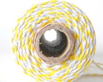 10 yards/ 9.144 m Lemon Yellow and White Twine