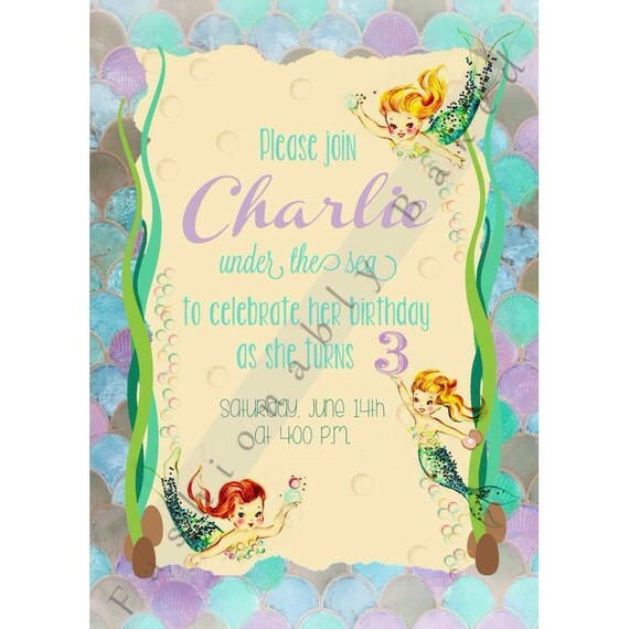 Items Similar To Vintage Mermaid Birthday Party Invitation