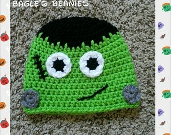 Crochet Frankenstein Beanie--Sizes Newborn-Extra Large Adult
