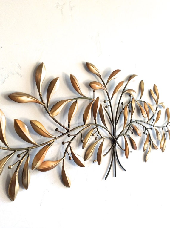 Leaf wall art gold metal wall art gold decor leaf home for Metal leaf wall art