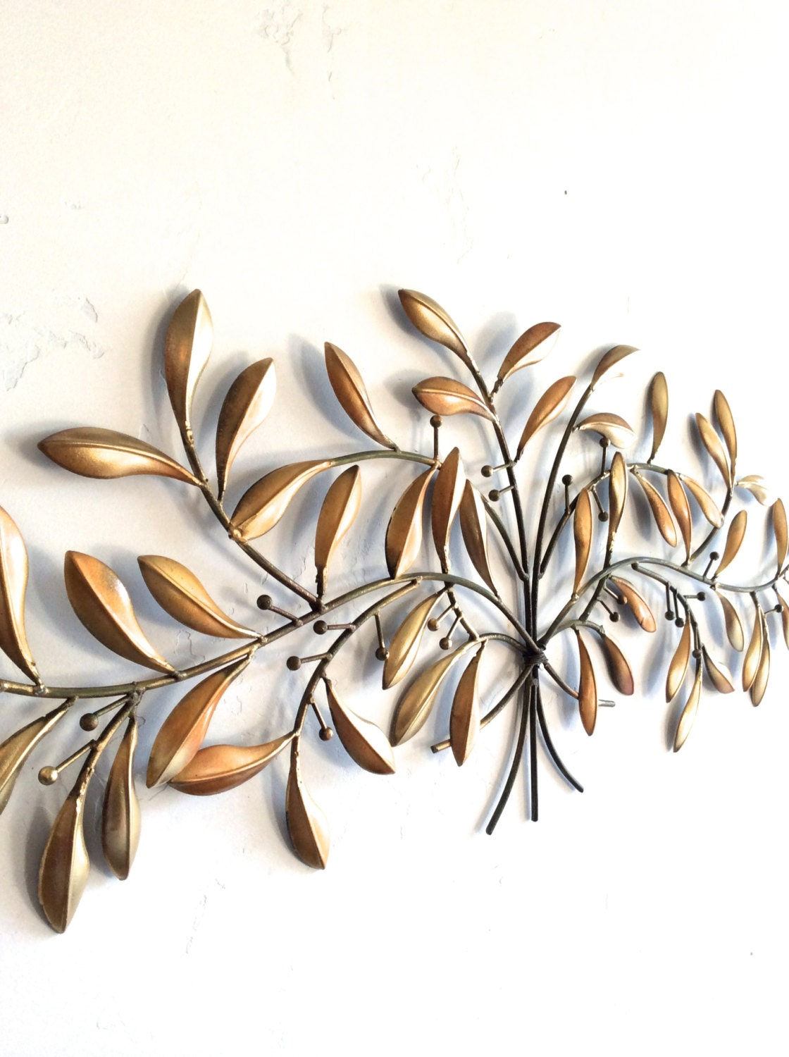 Leaf wall art gold metal wall art gold decor leaf home for Deco metal mural