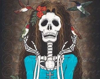 "11x14 Day of the Dead Giclee print, ""Contentment"""
