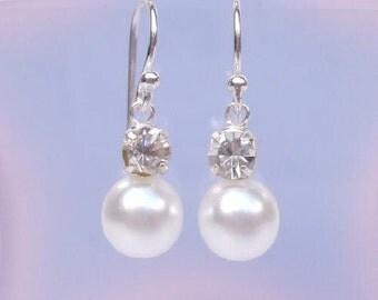 Diamante and pearl drop bridal earrings Sterling Silver Pearl & rhinestone wedding earrings classic pearl drop earrings bridesmaid earrings