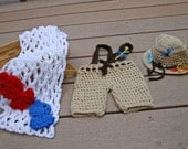 Made to Order Baby Boy Crochet Fisherman Set w/ Fishing Net and Fish/Photo Prop/Costume/JoellaCrochet