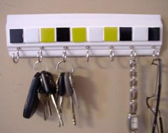"READY TO SHIP Wall rack for keys . yellow and black. mosaic tile  9 "" long  w/ 7 hooks key rack . Glasses,leash,key holder"