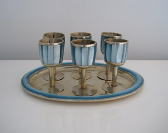 Vintage Hollywood Regency Liqueur Glasses and Tray Set