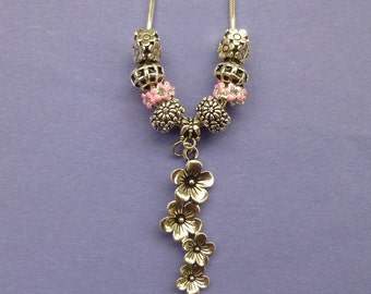 Floral Dangle Pand*ra Style Necklace