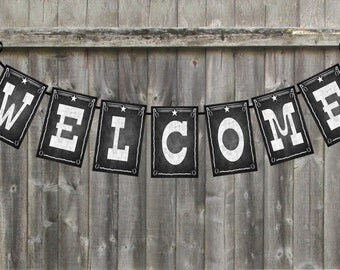 Printable Western Themed Welcome Banner for your western wedding or country themed party  - Chalkboard Style  - DIY Western Decoration