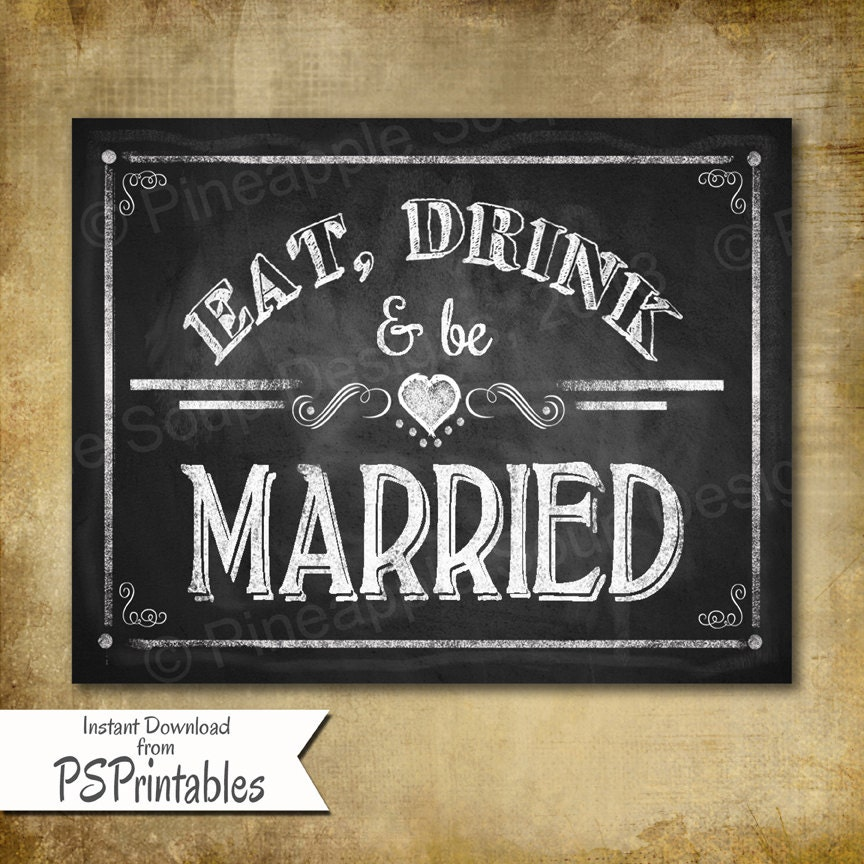 Printable wedding chalkboard sign or wedding sign or poster for Printable chalkboard signs
