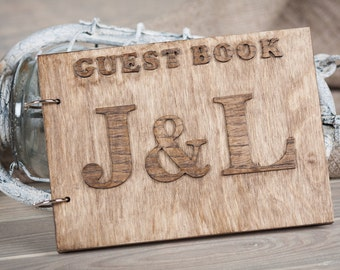 Wood Wedding Guestbook, Rustic Wedding Guestbook, Guest Book Personalized, Customized, Wedding Date And Names