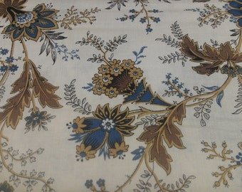 Floral Fabric paisley - blue, brown and cream  - 100% cotton Fabric