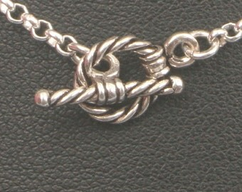 Sterling Silver Chain Necklace,16 - 24 inch, Petite Tiny Rope Toggle,Rollo Box Chain,USA Artisan made