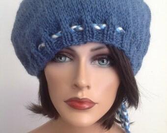 Hand Knit Wool Hat Beanie Beret Slouch Denim Jeans Blue Hip Cool Fun Adjustable Fit Designer Fashion  Head Cap Winter Snow  Facebook Fwb