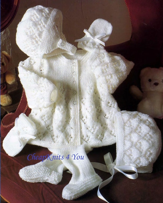 Baby Pram Set Leggings Coat Bonnet & Mittens in DK 8 ply