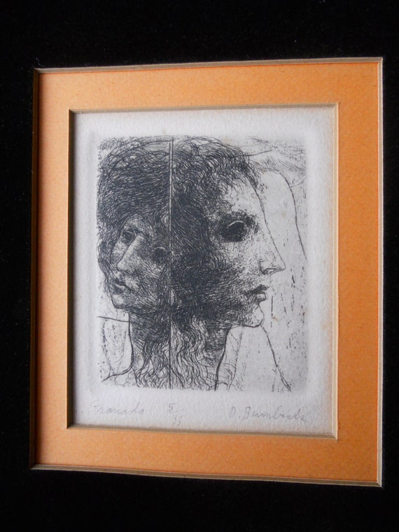Vintage Etching David Bumbeck Listed Artist Signed And