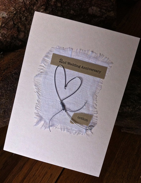 2nd Wedding Anniversary Keepsake Card Cotton Handmade