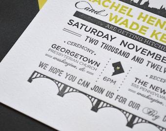 Washington DC Themed Letterpress Wedding Invitations
