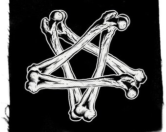 Pentagram Bone Patch, Punk Patch, Horror Black