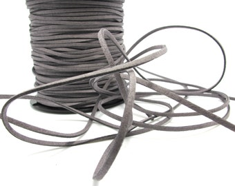 5 Yards 2mm Faux Suede Leather Cord|Dark Grey|Faux Leather String Jewelry Findings|Microfiber Craft Supplies