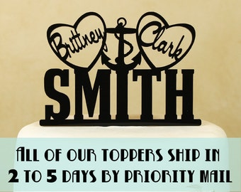 Wedding cake topper Nautical theme personalized with first names in hearts with anchor by Distinctly Inspired (style DH-2)