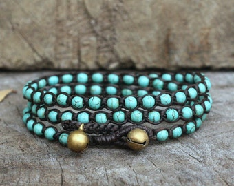 Turquoise 3 Wrap Bracelet On Dark Brown Waxed Cord