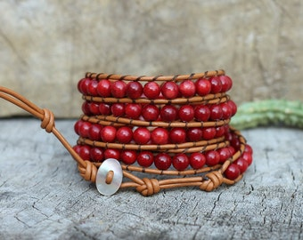 Red Coral 5 Wrap Bracelet On Light Brown Leather, 6mm Beads