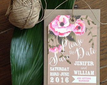 Watercolour Flowers Save the Date, Watercolour Flowers, Rustic Wedding Stationery, Outdoor Wedding, Wedding Stationery {DEPOSIT}