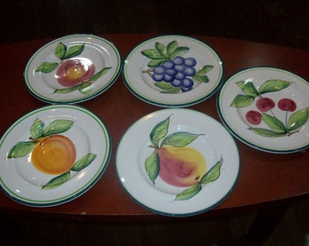 ceramic dinner plates set of 5 made in italy 11 inches round serving pear,grapes
