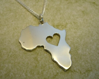 Sterling Silver Africa Pendant with Heart design