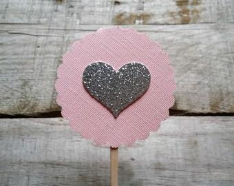 Heart Cupcake Topper, Cake Decor, Cupcake Decor, Wedding Decor, Baby Shower Decor, Party Decor, Set of 20