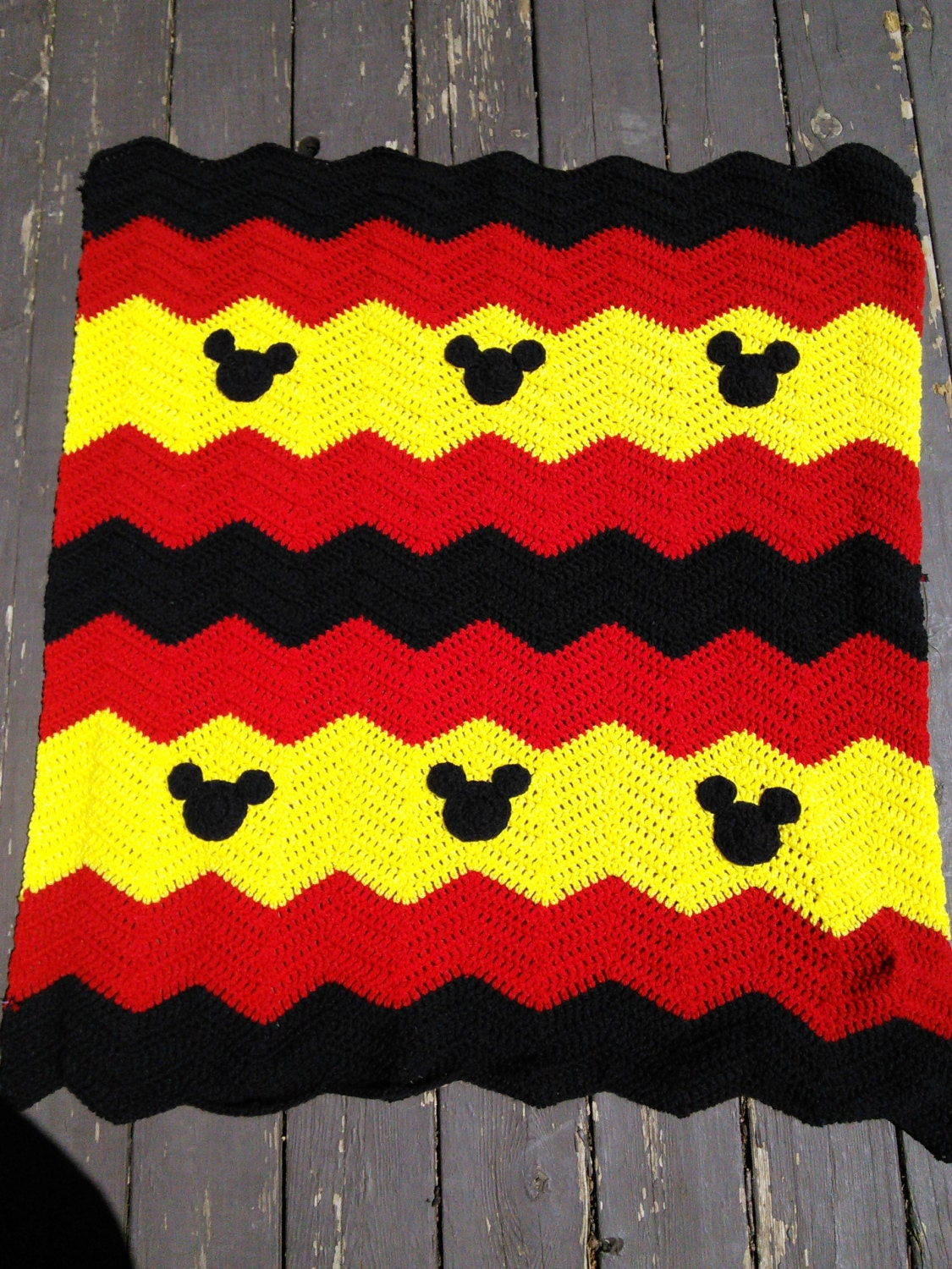 Red Black And Yellow Mickey Minnie Mouse Crochet Baby Afghan